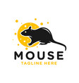 mouse eating cheese logo vector image vector image