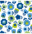 naive folk style spring flowers seamless pattern vector image vector image