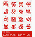 national puppy day icon set vector image vector image
