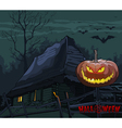 old house with a pumpkin on a fence at night vector image vector image