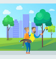 old people taking selfie photo in city town park vector image vector image