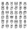 owl icons set outline style vector image vector image