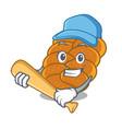 playing baseball challah character cartoon style vector image vector image