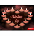realistic valentines day heart shaped candles vector image vector image