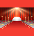 red carpet and round stairs podium in stage vector image