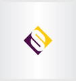 s logo purple yellow symbol letter vector image