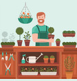 seller sells plants and flowers vector image