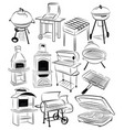 set barbecue grills collection braziers vector image vector image