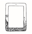 Sketch tablet computer with curls doodle ornament vector image vector image