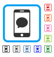 smartphone chat message framed icon vector image