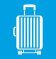 suitcase on wheels icon white vector image