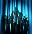 Theatre curtain and hands vector image vector image