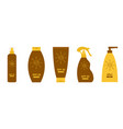 tube suntan oil cream icon set line after sun vector image