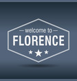 welcome to florence hexagonal white vintage label vector image vector image
