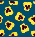 yellow pansy flower on indigo blue background vector image vector image
