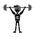 strong athlete with weights barbell weightlifting vector image