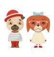 cute puppy dogs boy girl geek cubs hipster mascot vector image