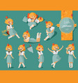set with lovely little cute girl hand drawn vector image