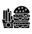 fast food - burger and fries icon vector image