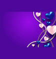 3d metallic blue and white hearts with beads and vector image