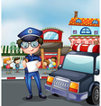 a policeman at busy street vector image
