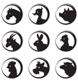 Animals farm silhouette icon set vector image