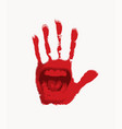 banner with open mouth on a red human palm vector image vector image