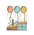 birthday cake gift and balloons decoration vector image