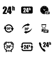 black 24 hours icon set vector image vector image