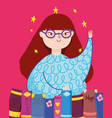 book day teen girl hand and books literature vector image vector image
