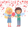 boy giving bouquet to girlfriend valentine vector image vector image