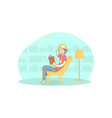 boy sitting in armchair and reading book guy vector image vector image