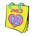 calendar with mothers day date icon cartoon vector image