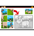 cartoon puppy jigsaw puzzle game vector image vector image