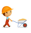 cartoon vector worker with wheelbarrow vector image