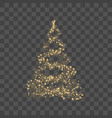 christmas tree on transparent background gold vector image vector image