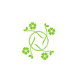 circle green leaf beauty logo vector image vector image