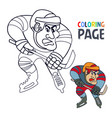 coloring page with hockey player cartoon vector image