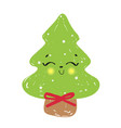 cute christmas tree fun holid vector image