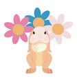 cute rabbit flowers decoration vector image vector image