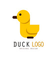 duck logo design element with yellow rubber duck vector image