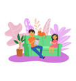 family game gadgets fun people happy nearby vector image