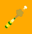flat on background bottle of champagne vector image vector image