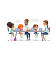 happy children tutor and teacher sitting at vector image vector image