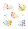 happy easter watercolor set with vector image