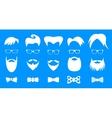Hipster elements white silhouette set vector image vector image