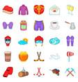 hockey clothing icons set cartoon style vector image
