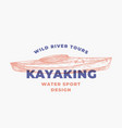 kayaking water sports abstract sign symbol or vector image vector image