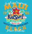 kid surfing team hawaii pacific ocean vector image vector image