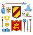 knight and magic set - lance shield knights vector image